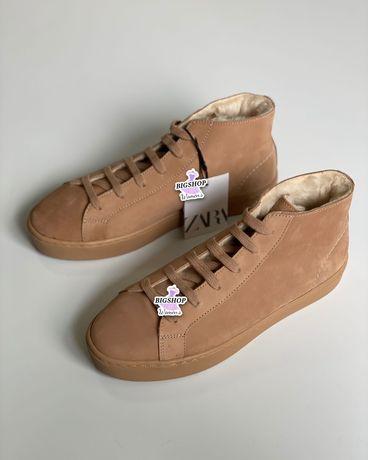 Стильные кожаные кеды ботинки от Zara оригинал новые 2021