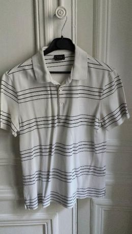 Polo Lacoste White and Black lines