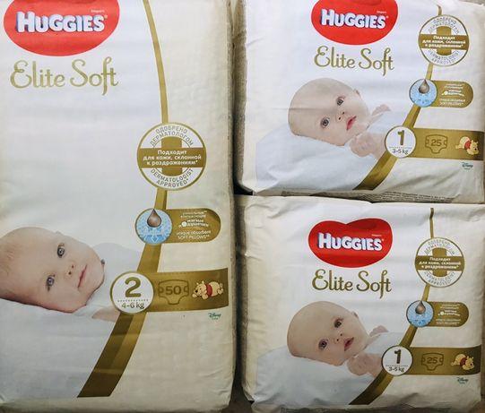 Huggies Elite soft размер 1 (3-5кг, 2 (4-6кг newborn хаггис элит софт