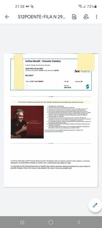 3 bilhetes concerto Andrea Bocelli
