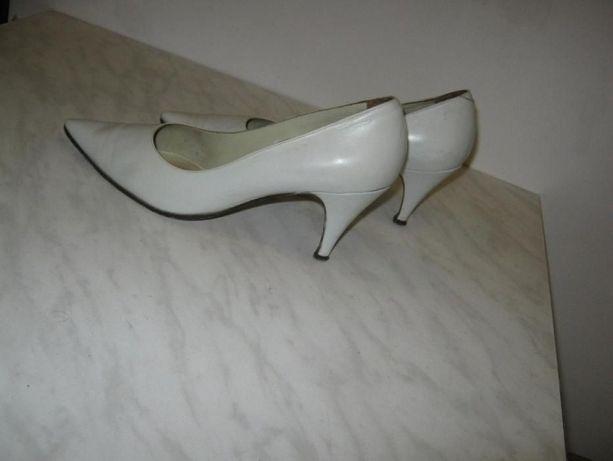 Туфли белые, женские, натуральная кожа