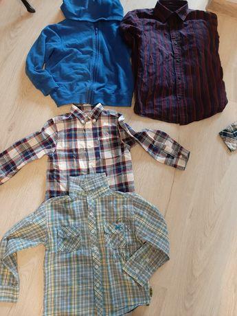 Koszule + bluza i bluzka 116  i koszula 122.