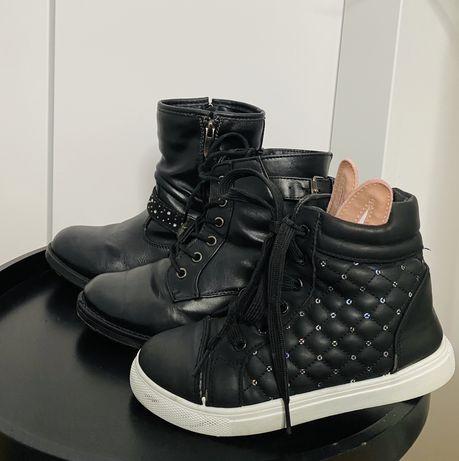 3 pary butów (kozaki, botki, wysokie adidasy) zestaw jesienny rozm. 32