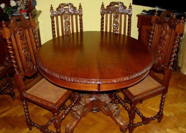 Antyczny stół z 6 krzesłami
