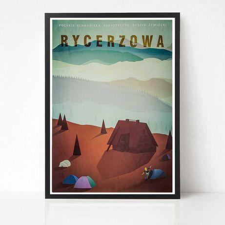 Plakat Wielka Rycerzowa seria Polskie Schroniska Turystyczne