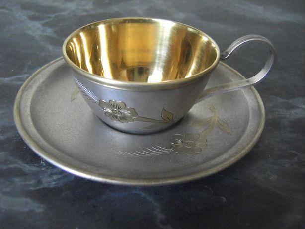 Кофейная пара мельхиор с позолотой пр-ва артели Мстера (юммет)