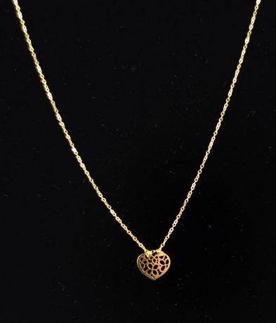 Śliczny złoty łańcuszek z serduszkiem 585 0,93G