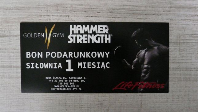 Wejściówka na miesiąc bilet wstępu na siłownię Golden Gym