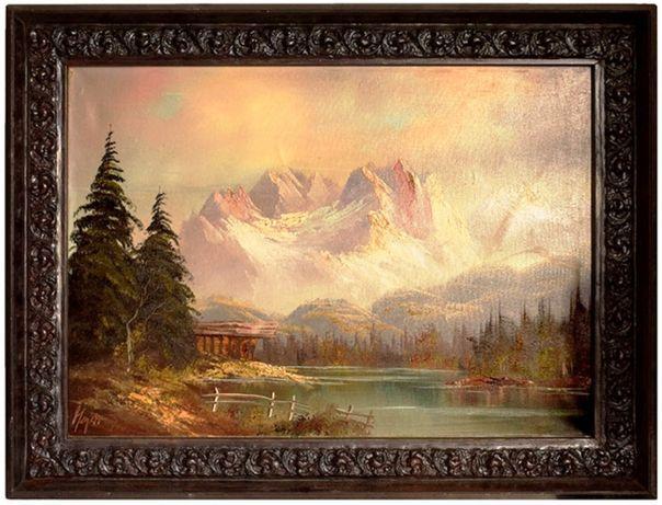 """Stary obraz olej """"Zachód słońca w górach"""" 85x65cm drewnianej ramie"""