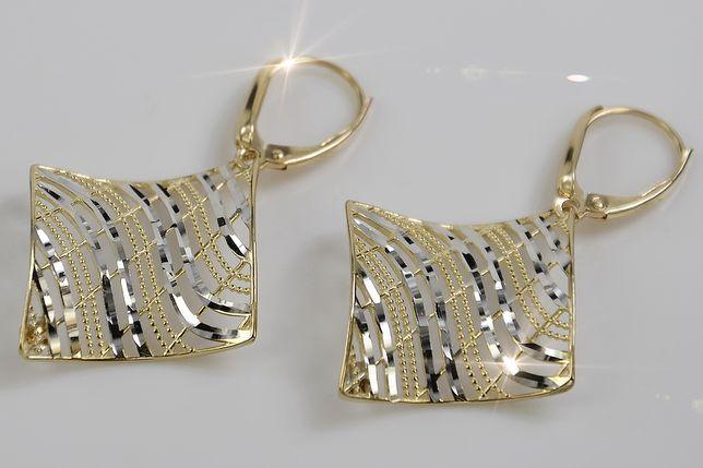 Włoskie złote kolczyki żółte białe złoto ens001y G