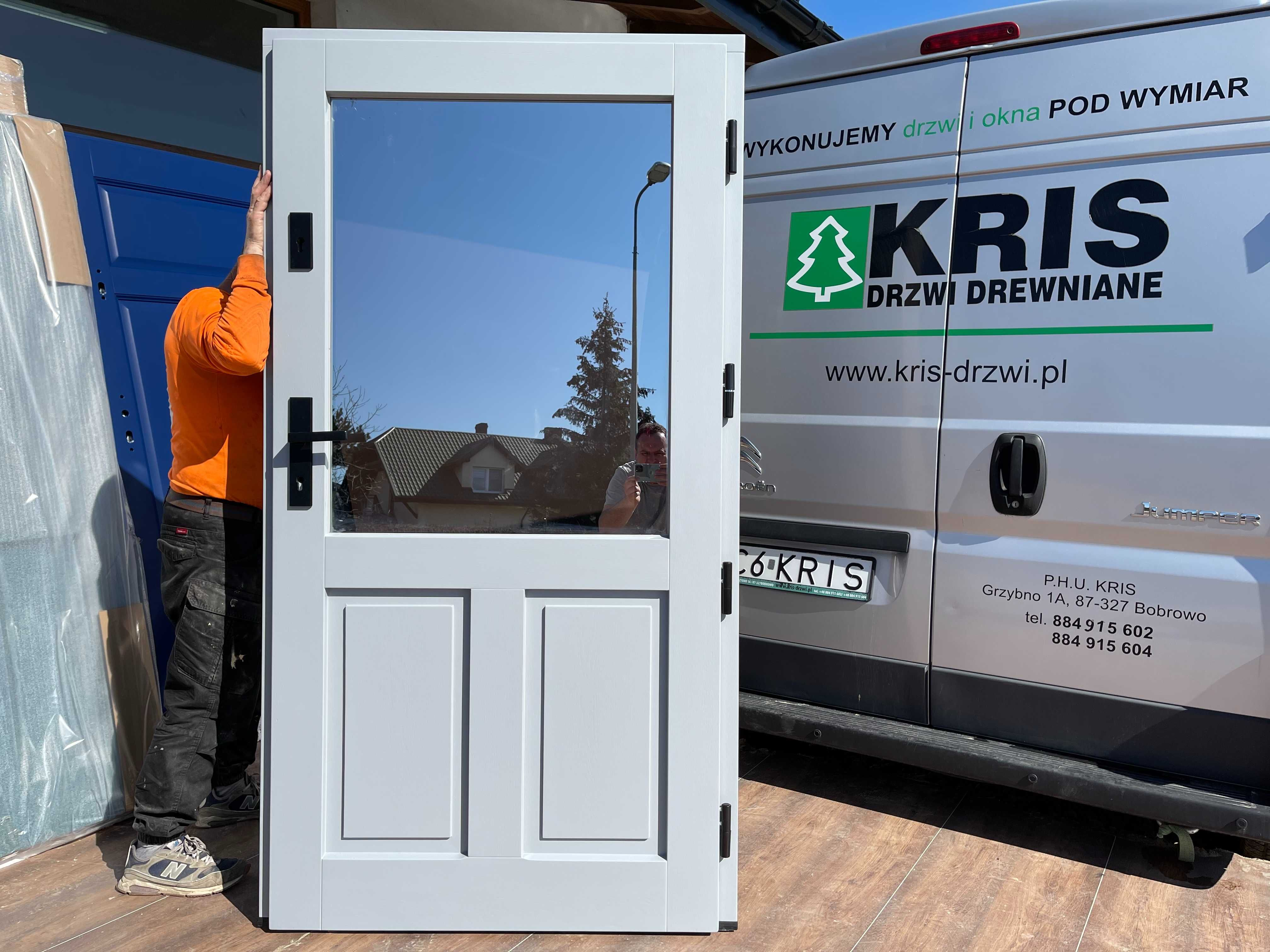 Drzwi zewnętrzne drewniane ocieplane z szybą venecją CAŁA POLSKA