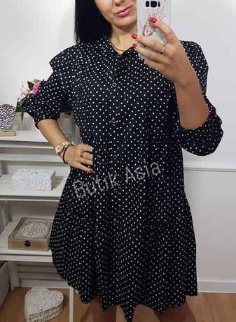 Sukienka czarna groszki koszulowa wygodna 38,40 nowa