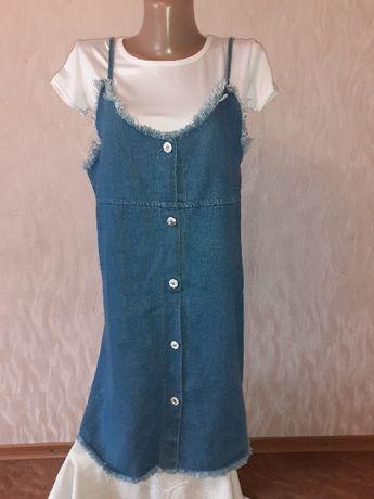 Женский сарафан джинсовый и футболка белая ( набор двойка).