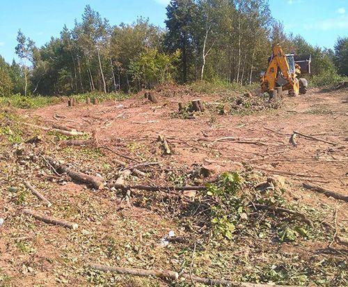 Выравнивание,планировка Уборка участка спил деревьев корчева
