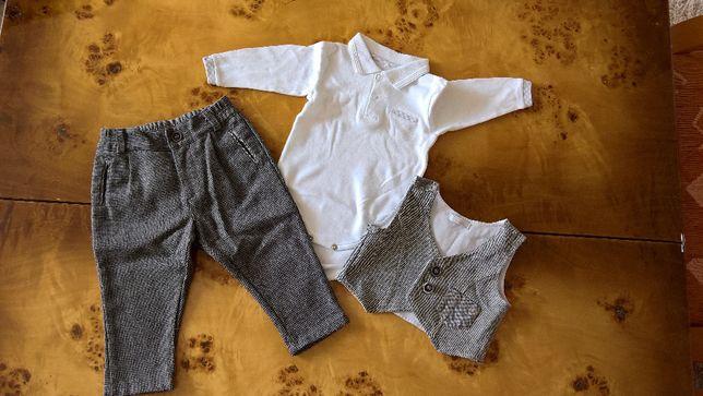 Komplet dla chłopca spodnie, body, kamizelka chrzest MINETTI 68/74