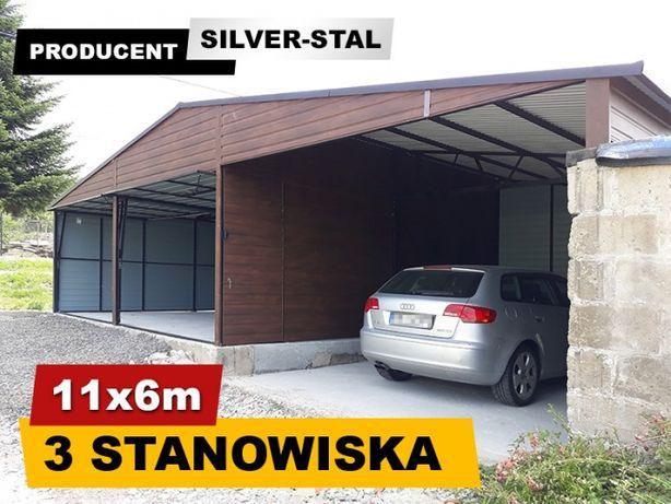 Garaż blaszany 11x6m z bramą uchylną i wiatką - Silverstal Garaże