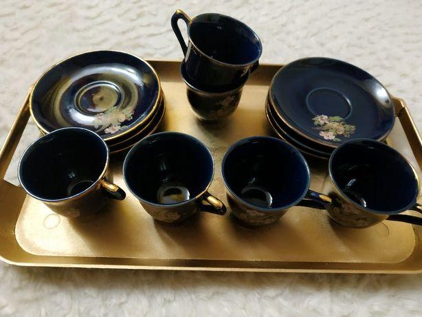 Набор кофейный, чашки кобальт, поднос, ложечки