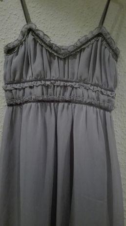 szara, zwiewna sukienka na ramiączkach, rozmiar 36