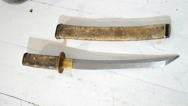 Oryginalne japońskie TANTO, skóra płaszczki, XIXw
