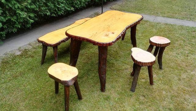 Drewniany komplet - rękodzieło stół, ława