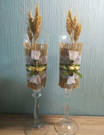 Бокалы для шампанского молодожёнам на свадьбу с колосками в украинском