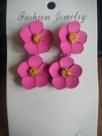 Nowe kolczyki damskie wiszace kwiaty kwiatuszki różowe