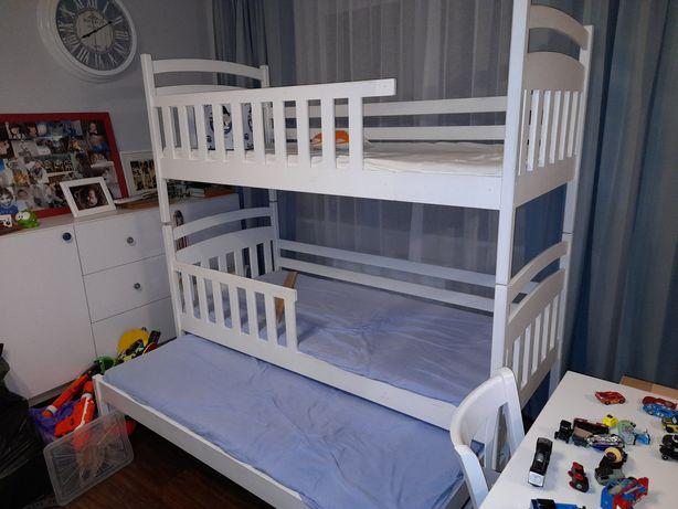 Łóżko piętrowe drewniane 3 osobowe