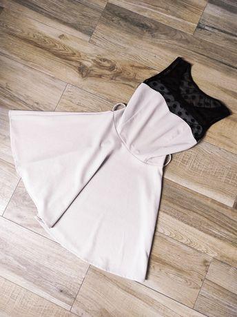 Beżowa sukienka z czarną górą