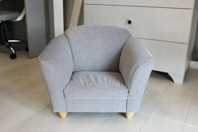 Fotelik dziecięcy szary z tkaniny PERSEMPRA łatwej do czyszczenia