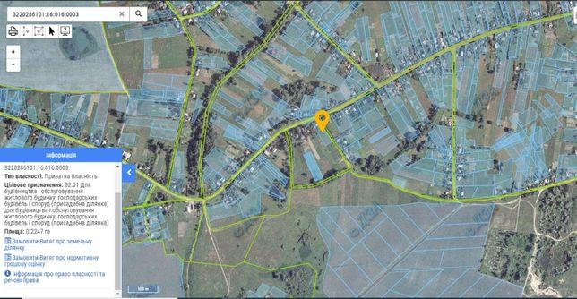 Продам участок 0,2247 га под застройку 50 км от Киева, с. Перемога