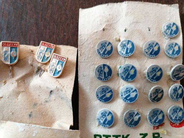 Wpinki/Przypinki/Piny/Metalowe znaczki miasta Olsztyn z PRL za 20 szt