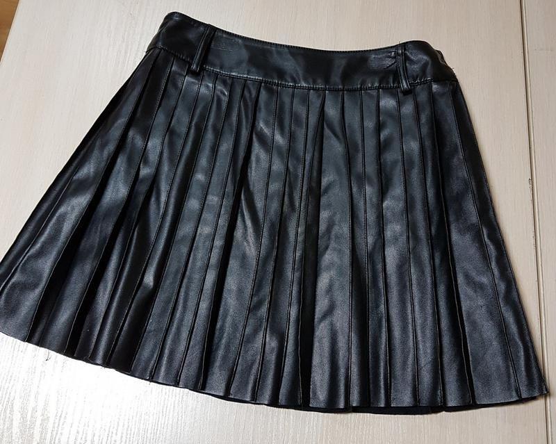 Кожаная юбка плесировка Love Republic Софиевская Борщаговка - изображение 1