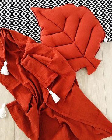 Poduszka liść. Muślin. Duży otulacz. Handmade