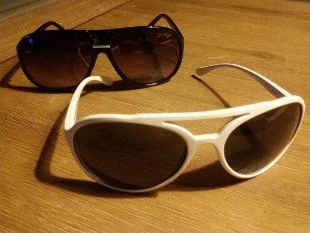 Okulary przeciwsłoneczne damskie białe oprawki