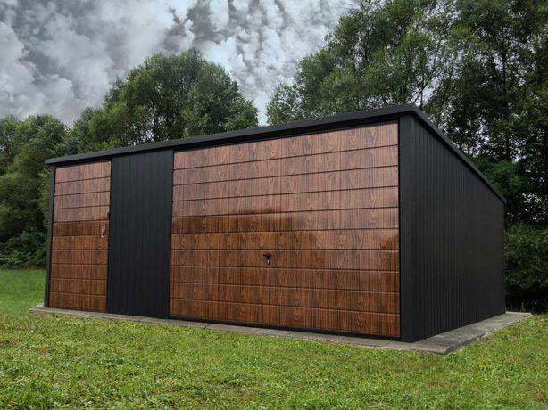 Garaż blaszany 5x5 stary dąb premium matowa czerń garaże TRANSTAL.COM