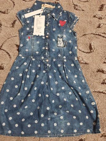 Платье новое джинсовое тоненькое 116р