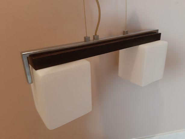 Lampa wisząca podwójna Żyrandol szkło mleczne/drewno brąz Leroy Merlin