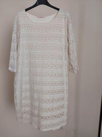 Biała koronkowa sukienka Camaieu rozmiar M/L