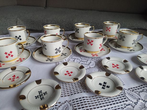 Porcelana Chodzież zestaw kawowy karciany brydżowy karty brydż