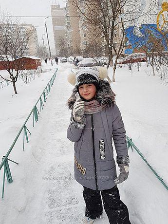 Зимнее детское пальто на 8-10лет рост 128-140 и шапка