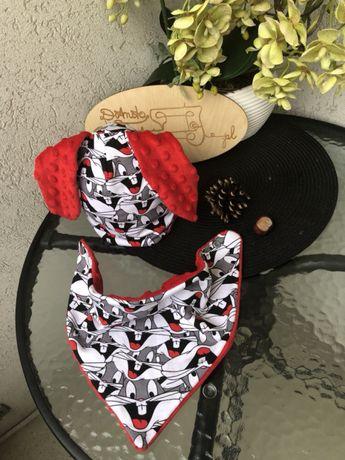 Komplet czapka z uszami i chustka ob.gł 42-45 cm Wyprzedaż