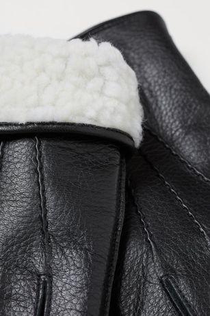 Тёплые кожаные мужские перчатки H&M