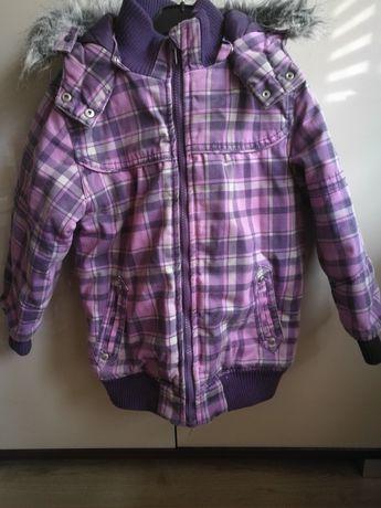 Kurtka zimowa fioletowa kratka krata 122 dziewczynka futerko oddam