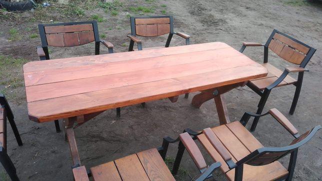 Zestaw ogrodowy masywny stół i 6 krzeseł dębowych