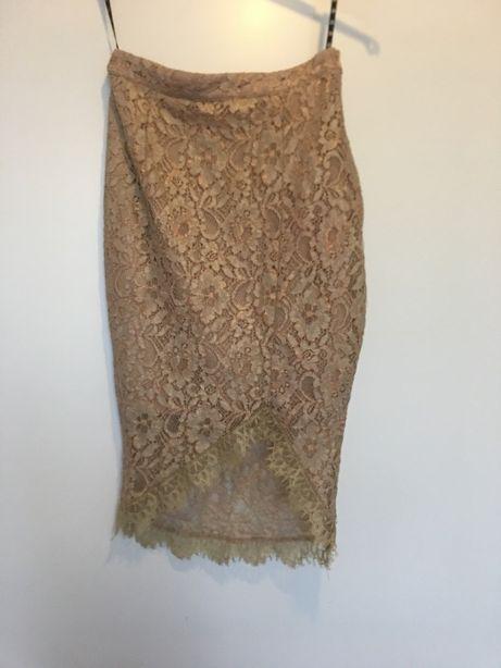NUDE koronkowa cielista beżowa spódnica midi missguided 36 34 xs s
