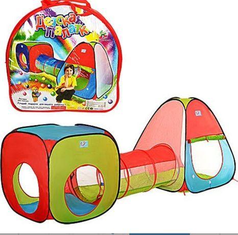 Палатка детская игровая 2 в 1 с переходом, домик, автобус, куб