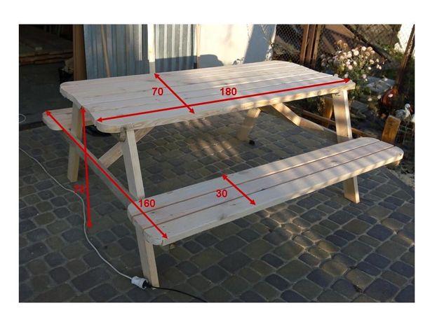 Стол-лавка для беседки , садовый деревянный