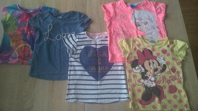 Bluzki dla dziewczynki krótki rękaw Kraina Lodu, Trolle, Minnie r. 104