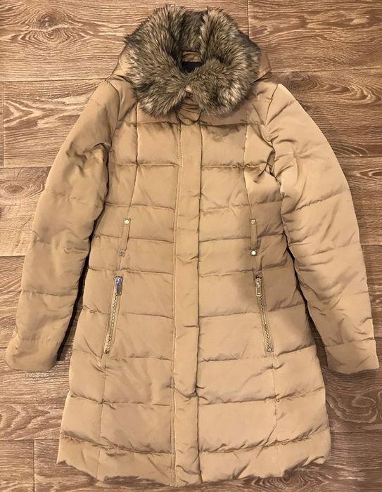 Зимняя пуховая длинная куртка с капюшоном бежевого цв. Mango р.36/S/44 Кременчуг - изображение 1