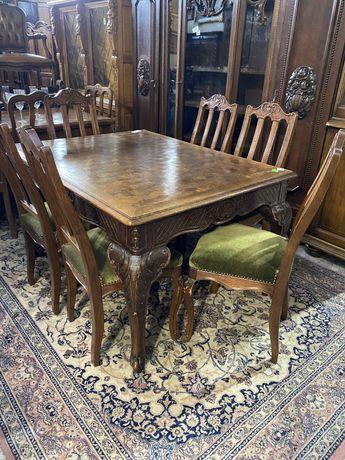 Stół + 6 krzeseł / komplet / antyki stylowy wegrow